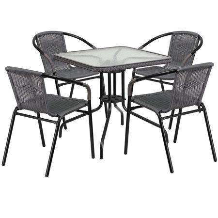 Flash Furniture 28 Square Glass Metal Table With Rattan Edging