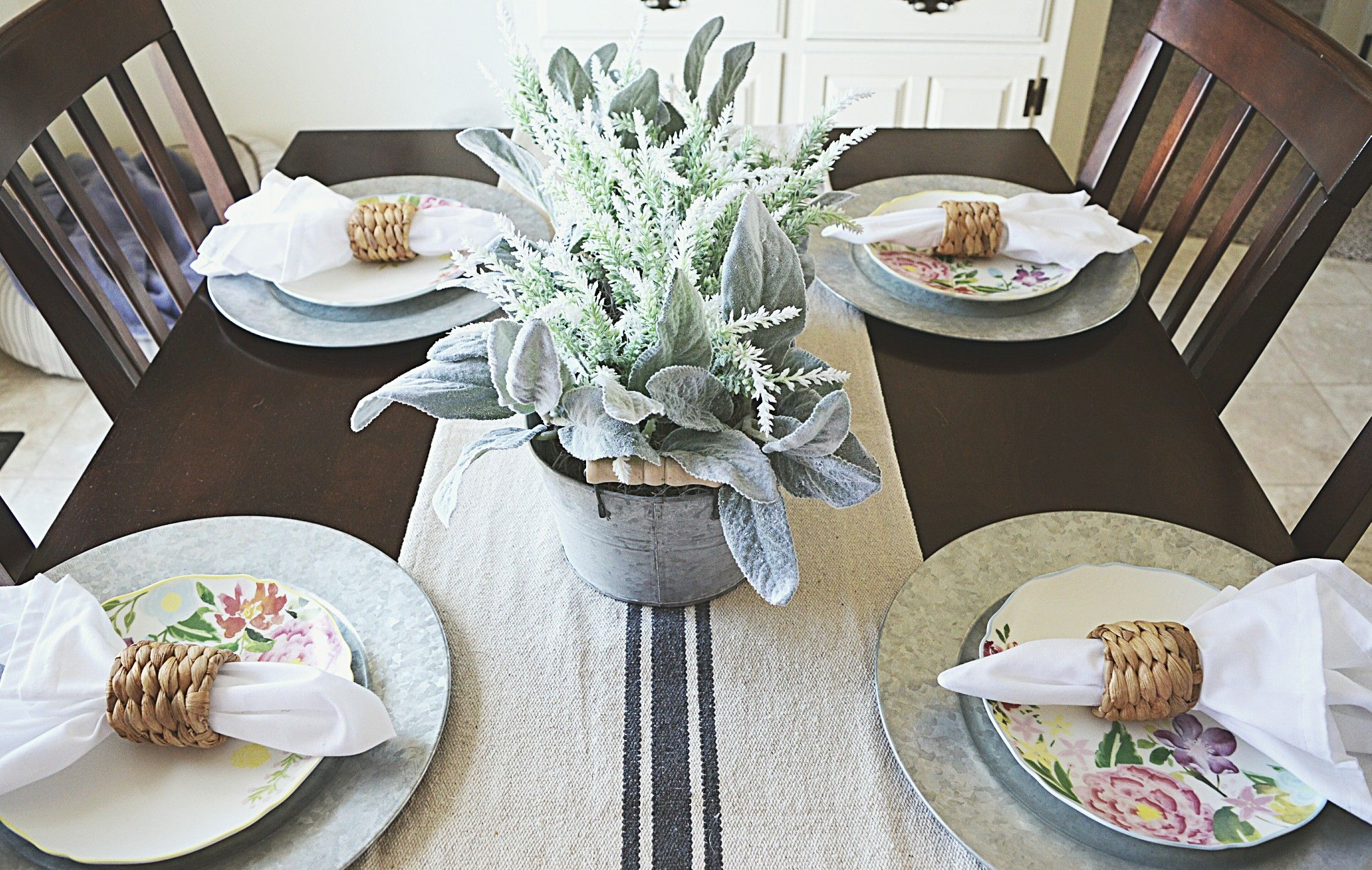 Farmhouse Kitchen Table Spring Decor Spring Plates Michael S Diy Florals Dining Table Ideas Farmhouse Kitchen Tables Kitchen Table Spring Decor