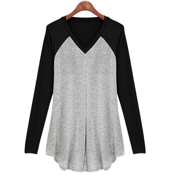 817374c655 Fashionable V-Neck Long Sleeve Color Block Ruched T-Shirt For Women