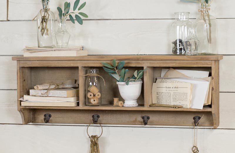 Distressed Wood Cubby Shelf With Hooks Cubby Shelves Shelves Wood Cubby Shelf