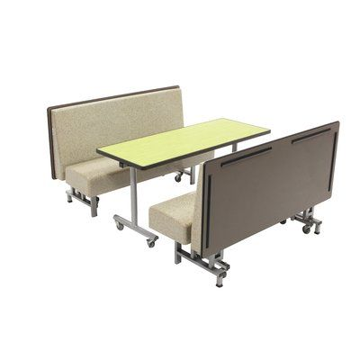 Amtab Manufacturing Corporation Mobile Folding Booth Seating With Rectangular Cafeteria Table Booth Seating Cafeteria Table Farmhouse Table Chairs