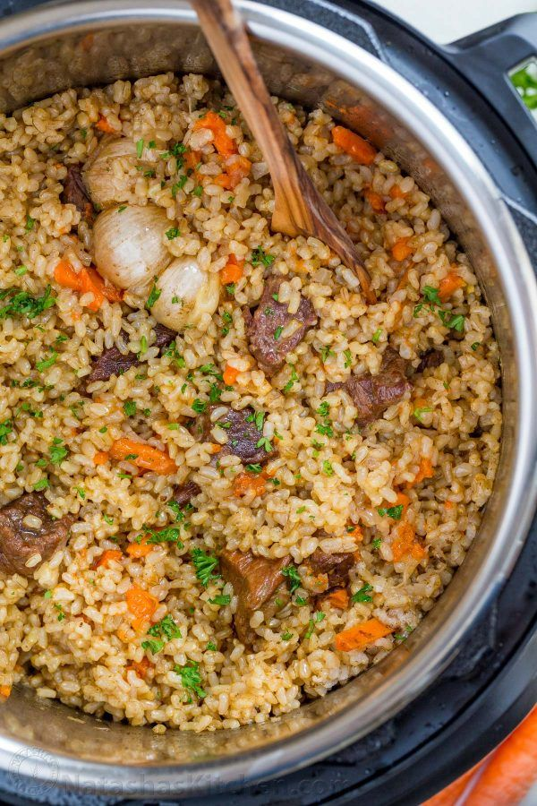 Making beef plov in an instant pot is so quick and easy and using brown rice is genius. This Instant Pot Rice recipe is a healthier, juicier and flavor packed version of beef plov   natashaskitchen.com #beefandrice