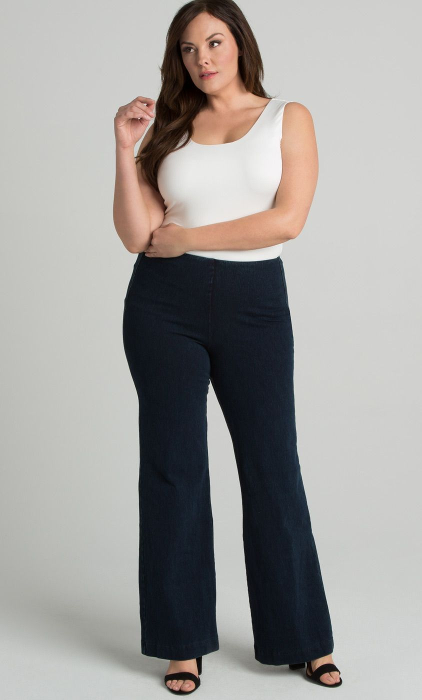 3053833b372 You ll love how comfortable and chic our Denim Trousers by Lysse are. These  trousers are flattering on curves and feature a hidden waistband for a  slimming ...