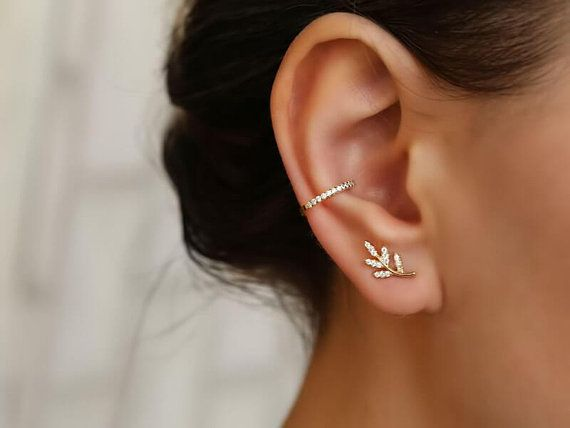Climber 20g Earrings PAIR of Crystal Set Twisted Lines Ear Crawler