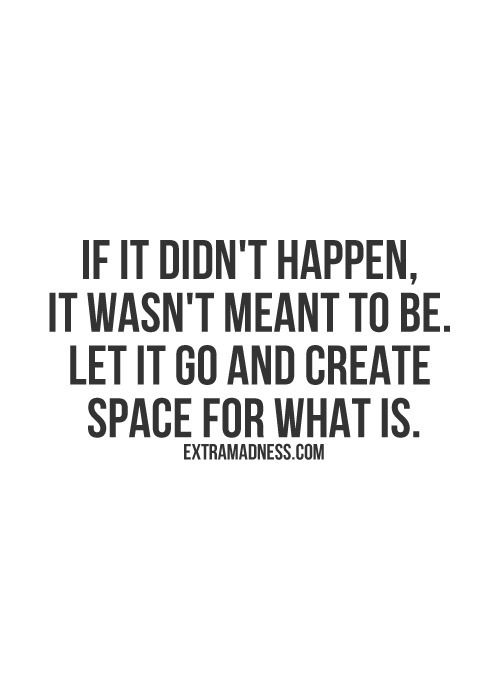 Whats meant to be.