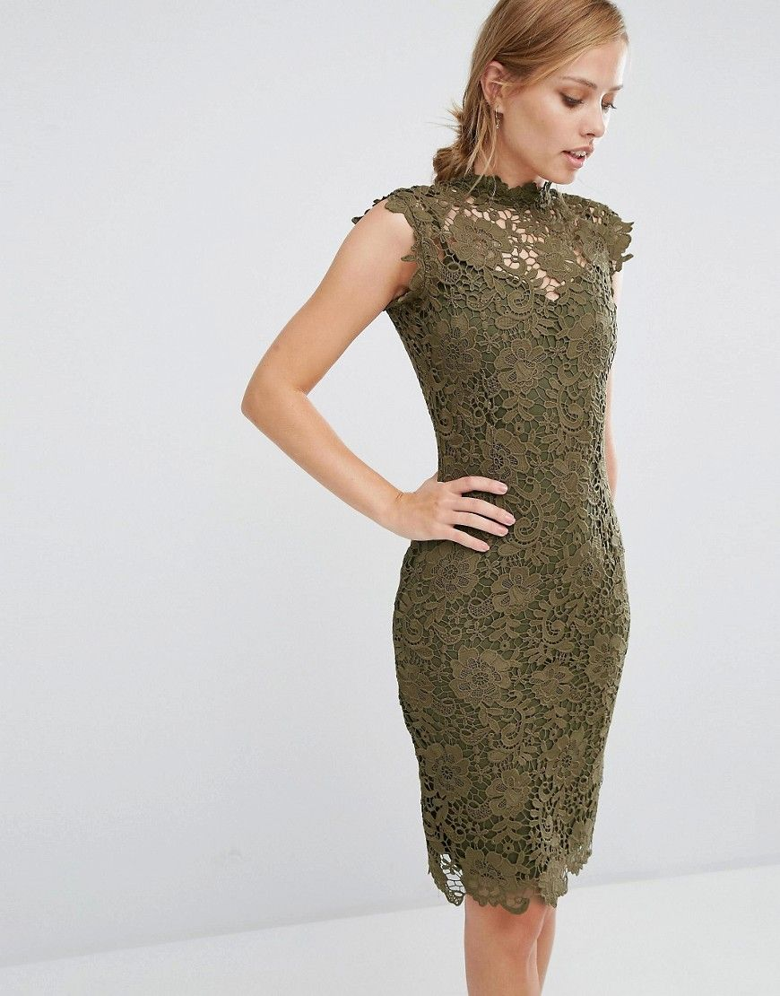 Image 1 of Paper Dolls Allover High Neck Lace Dress