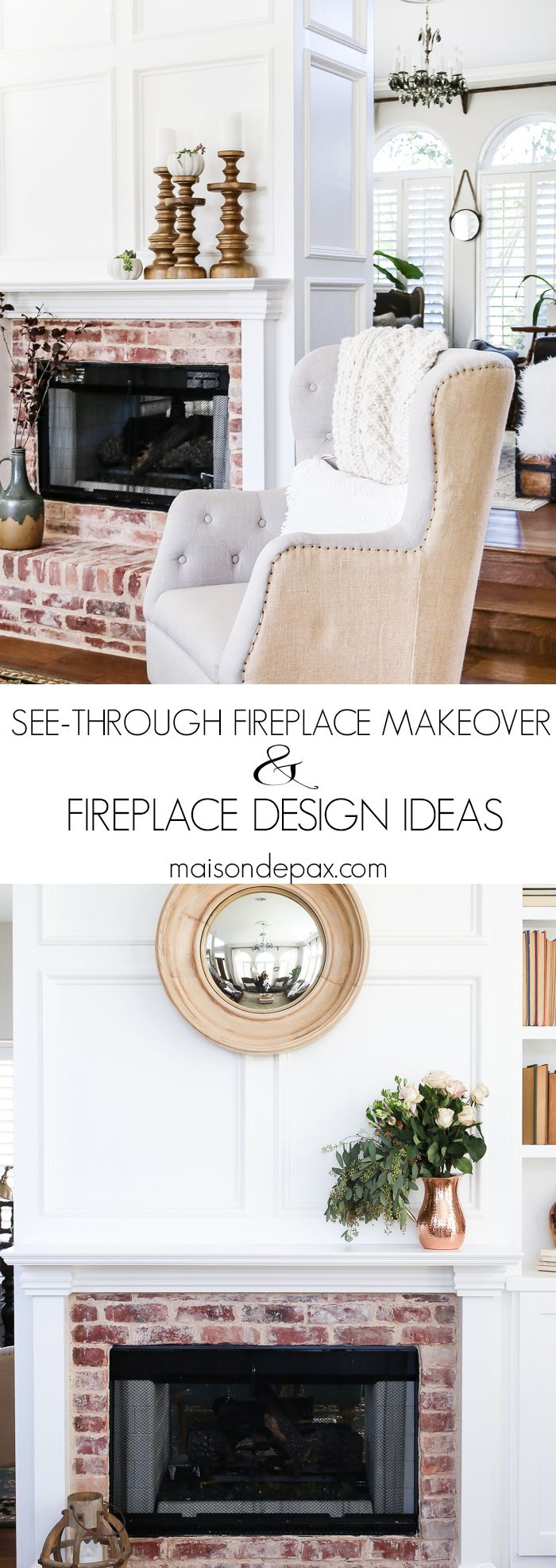 Looking for fireplace makeover ideas? See how this awkward glass fireplace was transformed into an elegant classic with antique brick, white molding, and a gas insert. #fireplacemakeover #fireplacedesign #seethroughfireplace #twosidedfireplace #manteldesign #whitemolding #blockpaneling #antiquebrick #brickfireplace