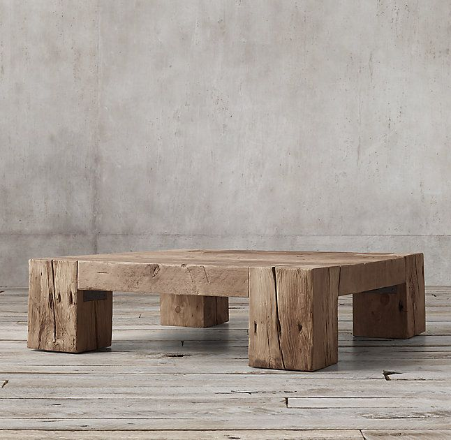 Rh S Reclaimed English Beam Square Coffee Table Solid Pine Support Beams Massive In Scale