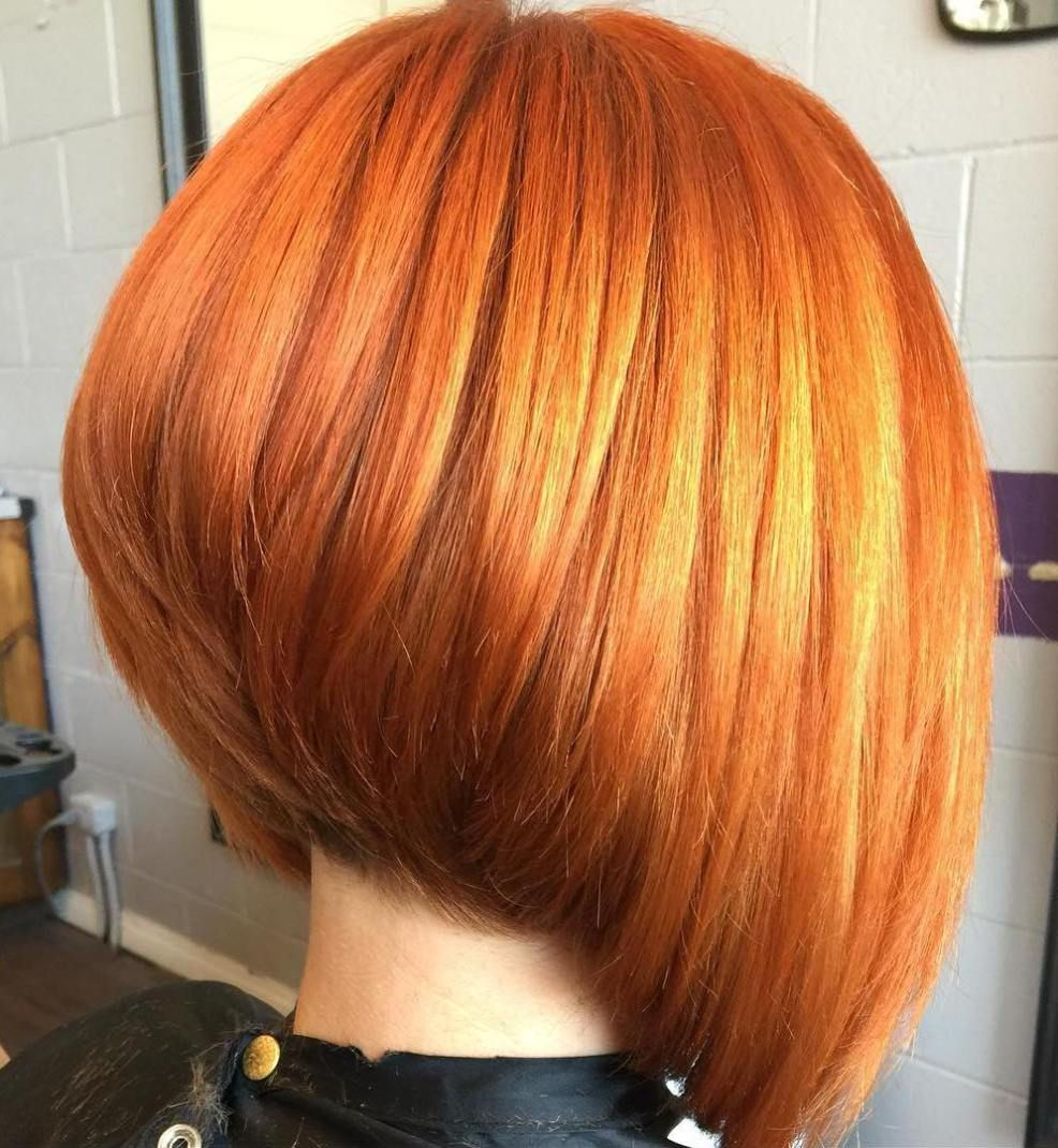 The Full Stack  Hottest Stacked Haircuts  Copper red Bobs and