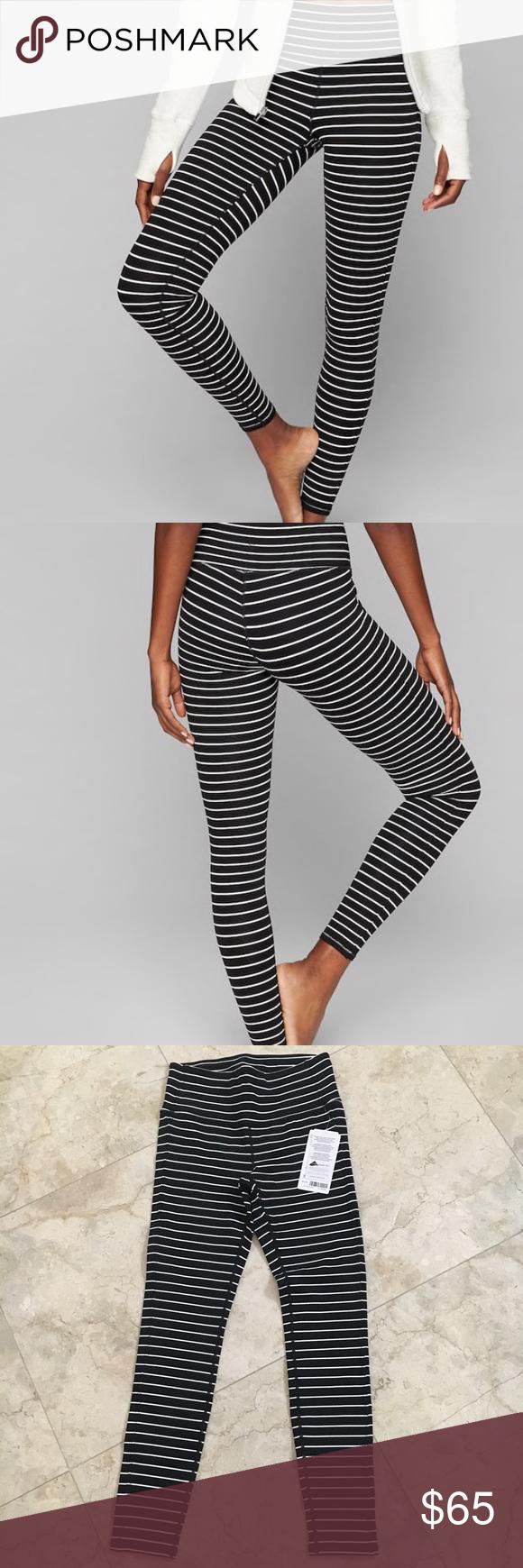 e7b965159e3a3 Athleta High Rise Stripe Chaturanga Tight Nwt Size SMALL, black and white  stripes , full length , high rise Athleta Pants Leggings