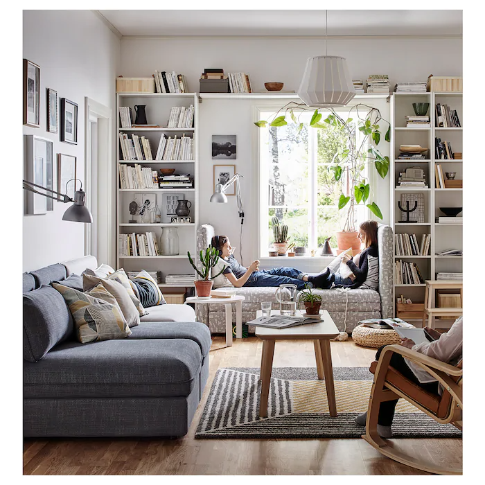 """BILLY Bookcase, white, 31 1/2x11x93 1/4""""   IKEA in 2021   Apartment living room, Living room ..."""