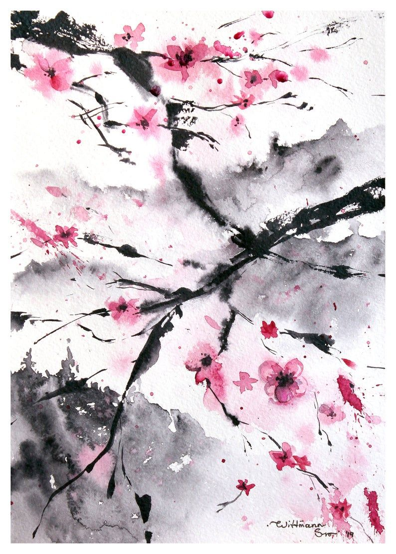Cherry Blossom Art Tree Original Art Japanese Painting 8 By 12 In Made To Order By Svetlana Wittmann Blossoms Art Cherry Blossom Art Cherry Blossom Wallpaper