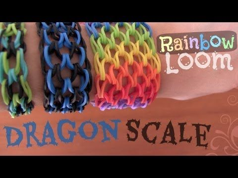 Rainbow Loom : Dragon Scale Cuff Bracelet - How To - YouTube