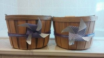 Round Baskets With Purple Accents $20