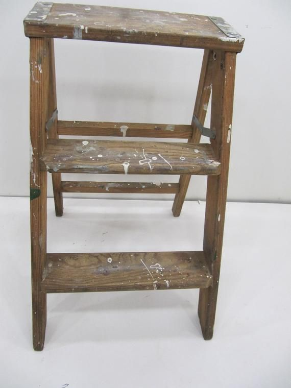 Pleasing Vintage Step Ladder Wood Three Step Ladder Small Step Pabps2019 Chair Design Images Pabps2019Com