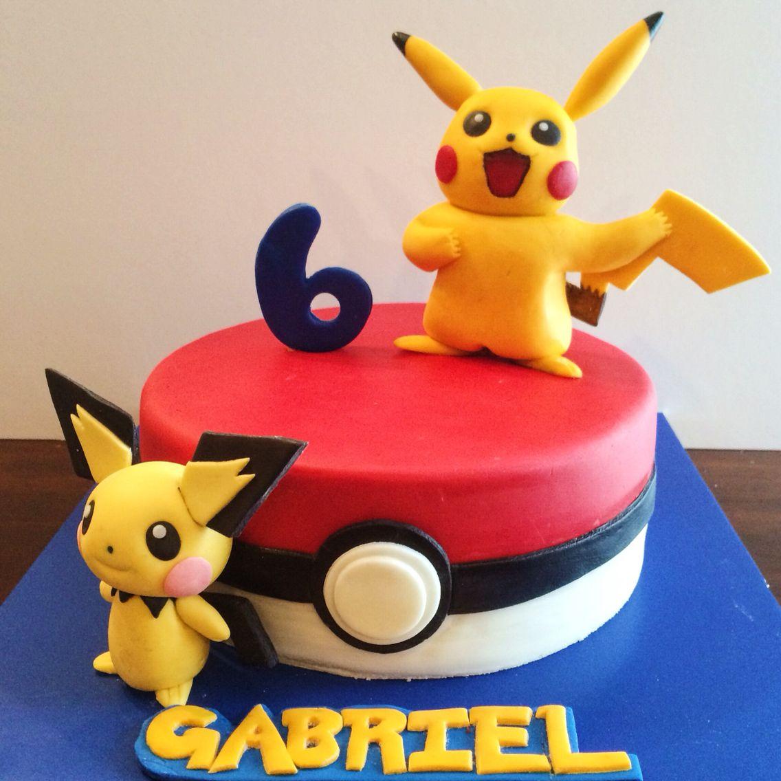Pikachu Fondant birthday Cake with Pokemon & Pichu
