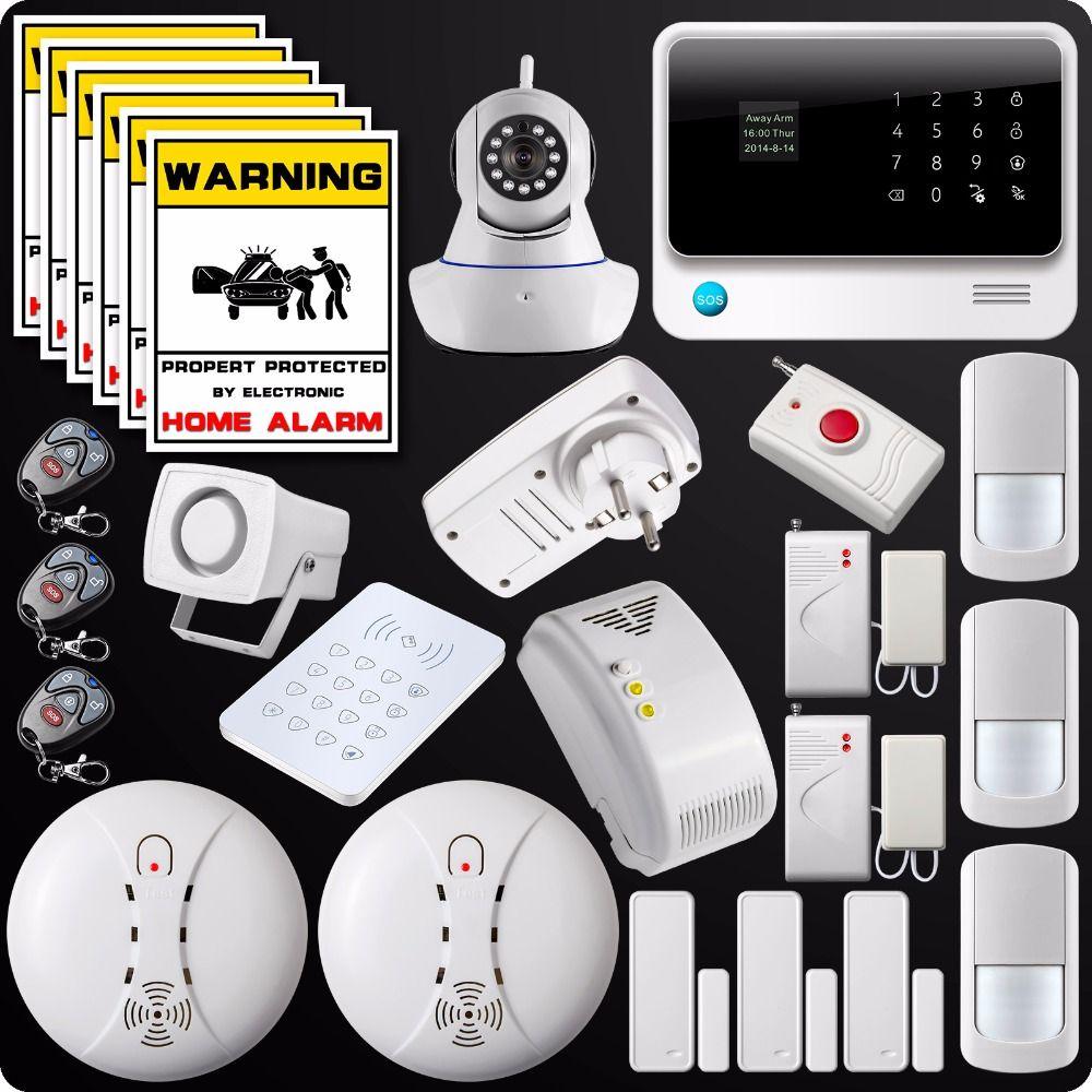 2.4G WiFi GSM GPRS SMS Alarm System Wireless Home House Security System  Wifi Camera+