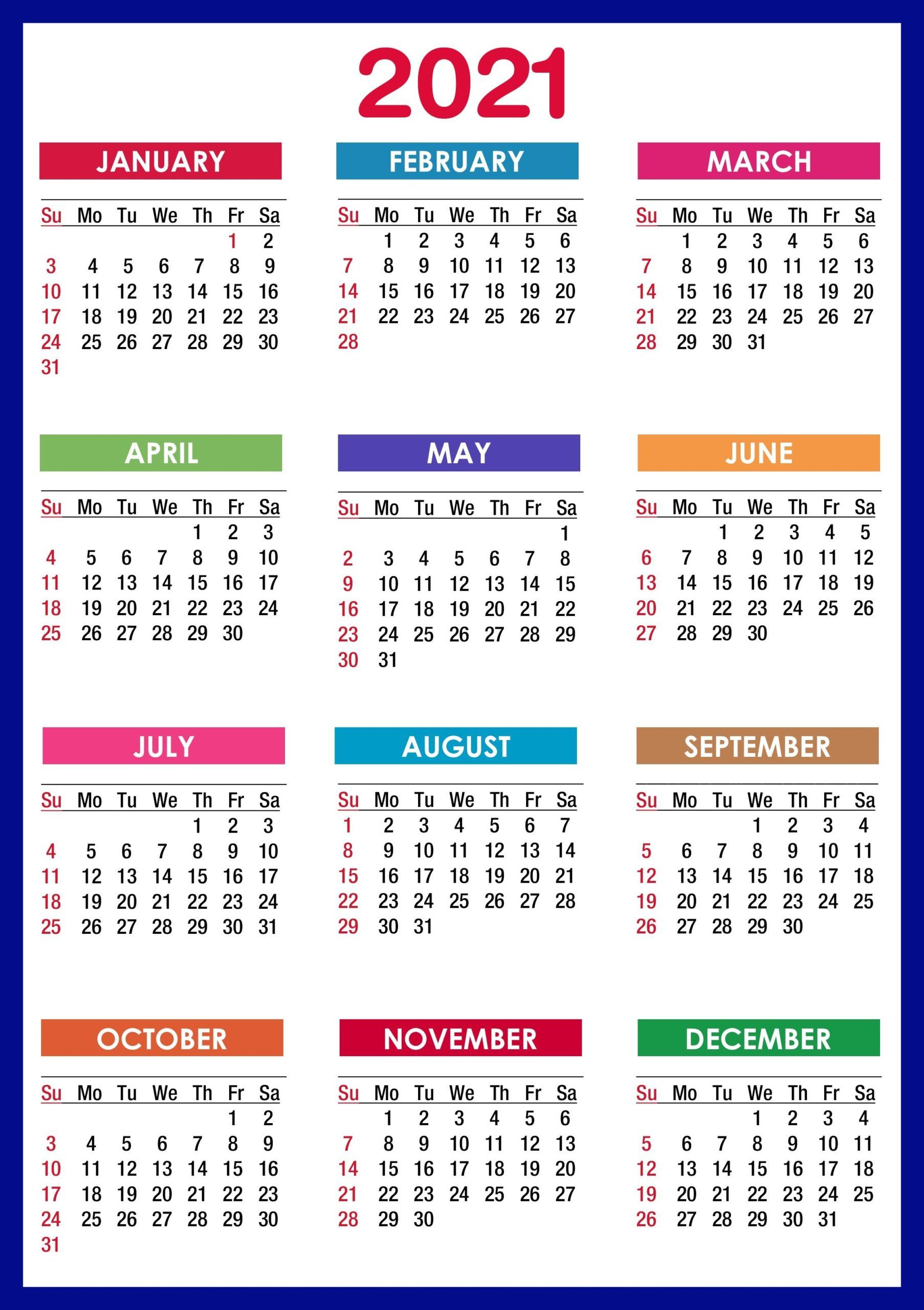 2021 Calendar By Month 2021 Calendar Printable | 12 Months All in One | Calendar 2021