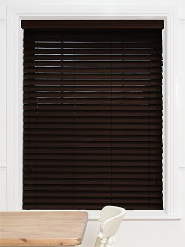 dark mahogany faux wood blind 50mm slat home decor ideas pinterest faux wood blinds. Black Bedroom Furniture Sets. Home Design Ideas