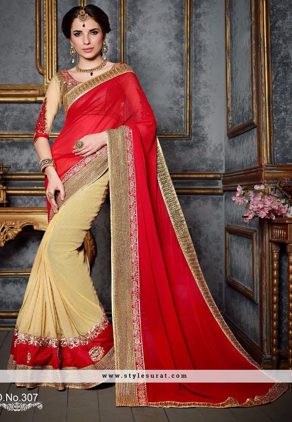 Faux chiffon and lycra fabric red color designer saree sarees