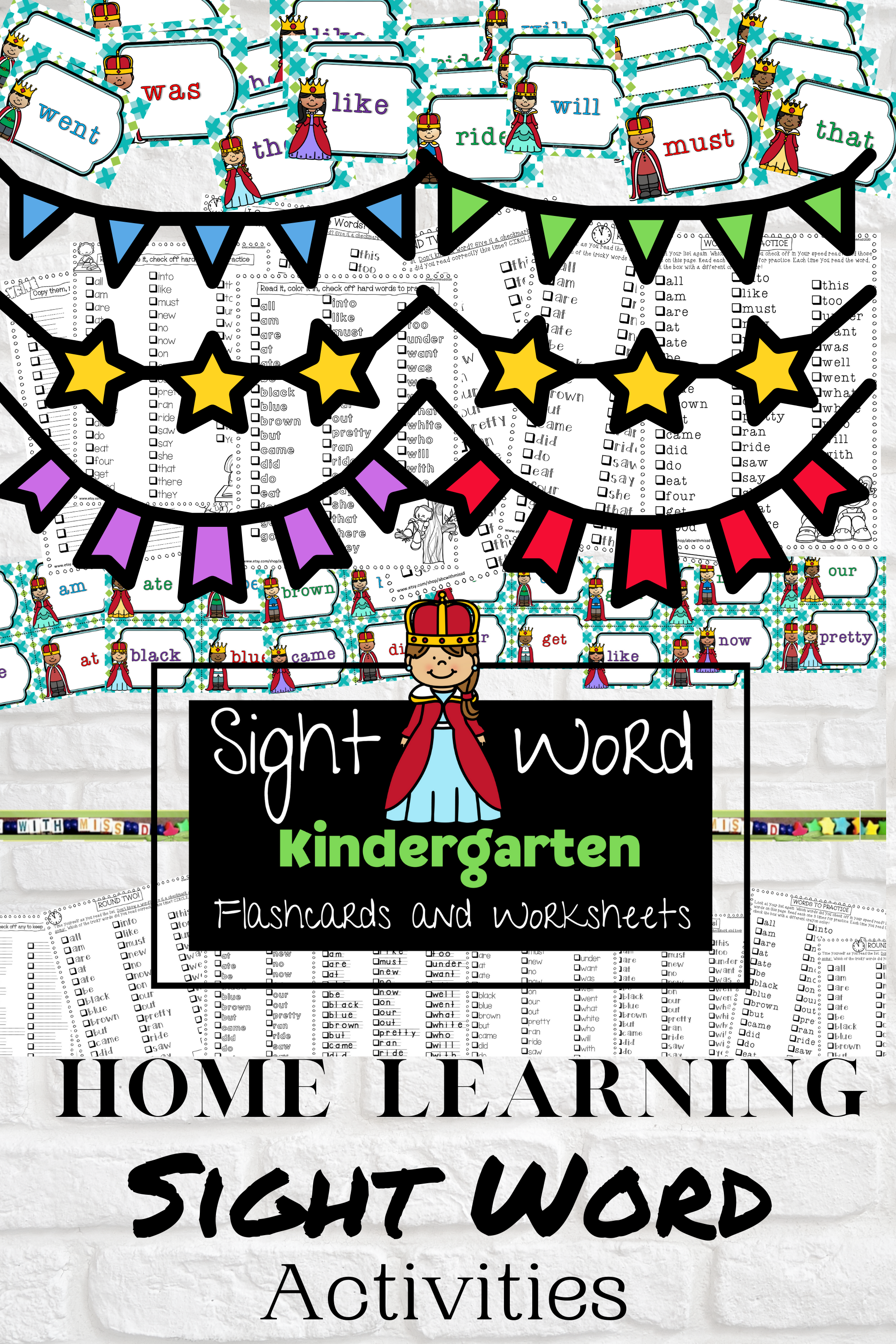 Kindergarten Dolch Sight Words Packet Flashcards And Word
