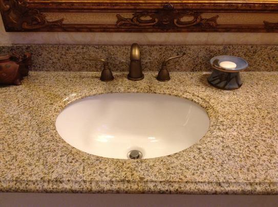Pegasus 61 In Granite Vanity Top In Beige With White Basin 61682