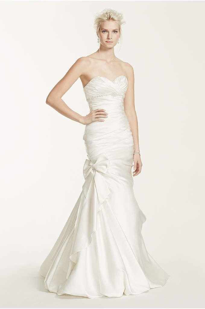 422b584a6cbf Petite Satin Wedding Dress with Beaded Sash - Davids Bridal | My ...