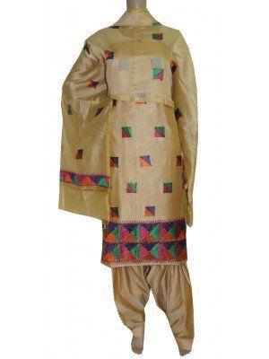 Golden Contrast Tan Colour Phulkari Suit Cotton Silk Shop Now:http://www.jankiphulkari.com/index.php?route=product/search&description=0&search=Phulkari%20Suit%20Cotton%20Silk