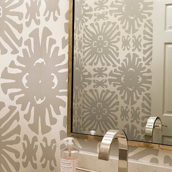 Gray Powder Room Wallpaper Transitional Bathroom Small Bathroom Wallpaper Powder Room Decor Powder Room Wallpaper