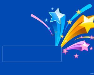 the free ppt file has a blue background and colored stars on top, Presentation templates