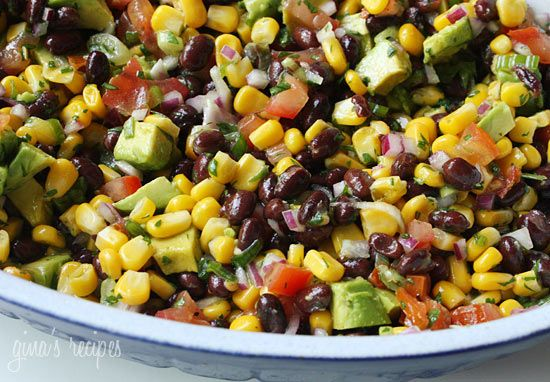 black bean salad: black beans, corn, tomato, onion, green onion, cilantro, lime, avocado, salt, pepper
