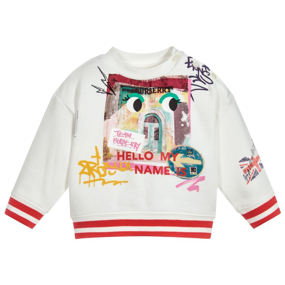 c10500355007 Girls Ivory Print Sweatshirt for Girl by Burberry. Discover more beautiful  designer Tops for kids online