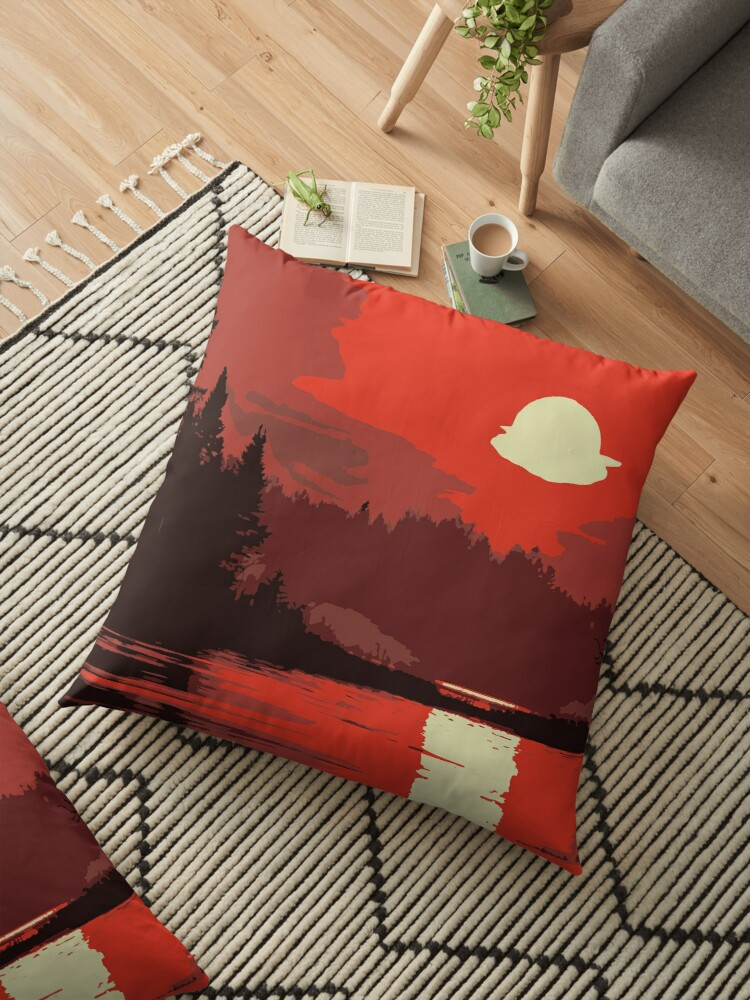 A Beautiful Sunset Reflecting On A Wooded Mountain Lake Millions Of Unique Designs By Independent Artists Find Your Th In 2020 Floor Pillows Pillows Pillow Design