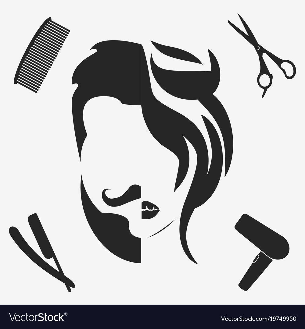 Man And Woman Hairstyle Silhouette Beauty Salon Hairdresser Barbershop Logo Download A Free Pre Salon Logo Design Hair Salon Decor Man And Woman Silhouette