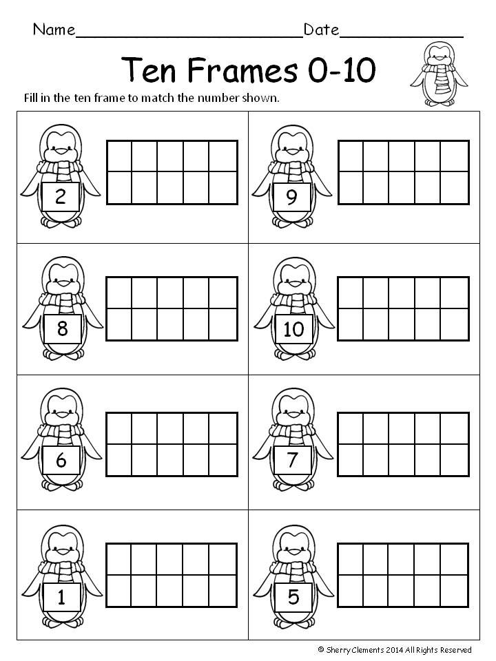 Winter Ten Frames Ten Frames Kindergarten Ten Frame Kindergarten Worksheets