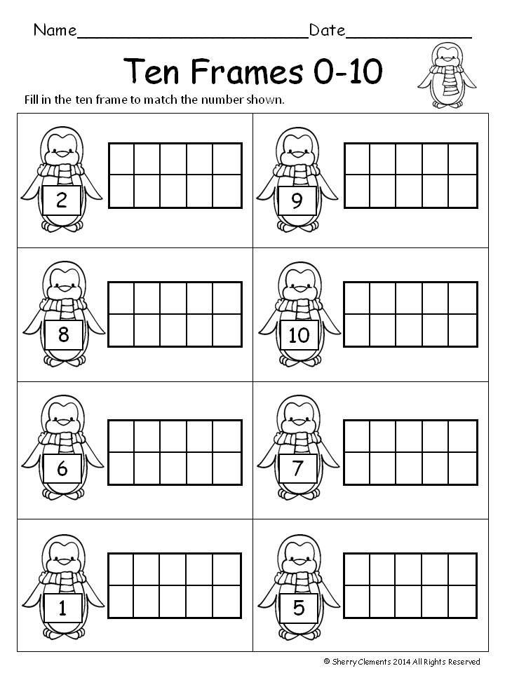 Winter Ten Frames Distance Learning Ten Frame Kindergarten Worksheets Ten Frames Kindergarten What is ten frame in kindergarten