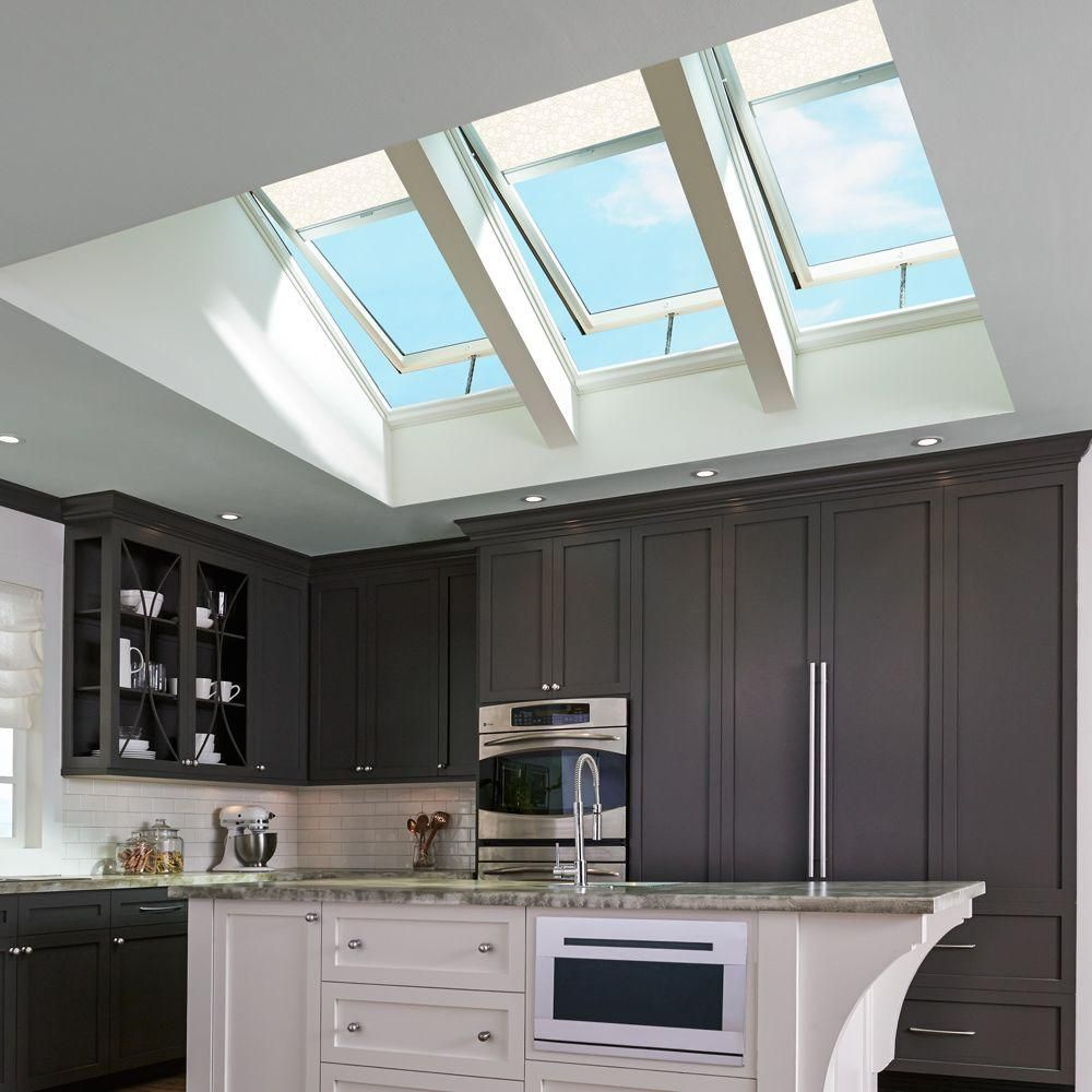 25 Captivating Ideas For Kitchens With Skylights: VELUX Solar Powered Light Filtering White Skylight Blinds