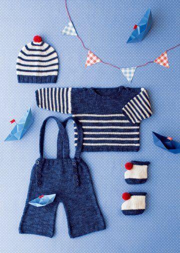 f6e3e09a866e Marinière, pantalon à pont, bonnet et chaussons à pompon tricotés pour  petit bébé    épinglé par Mayoparasol Ⓡ, maillots de bain anti UV et  vêtements anti ...