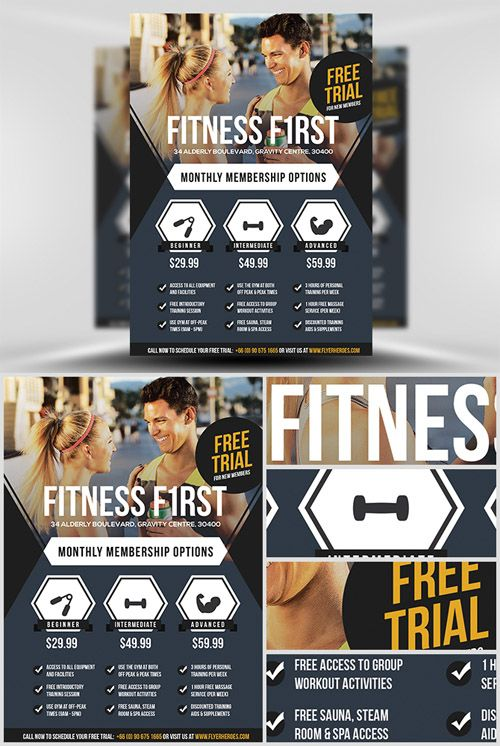 Flyer Template - Fitness First ads Pinterest Flyer template - fitness flyer template