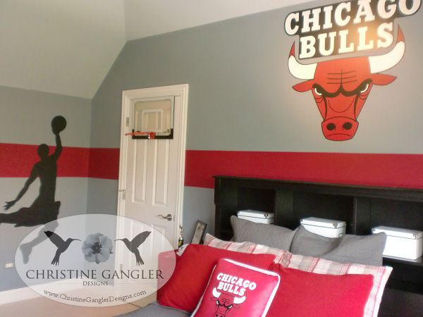 Fun basketball room created by christine gangler designs for Boys basketball bedroom ideas