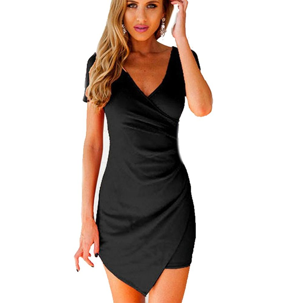 Women Slim Fitted Bodycon Mini Dress Wrap Dress Evening Party ...
