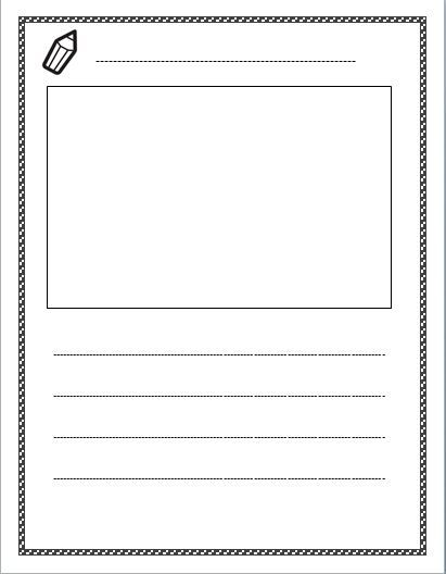 Free Lined Paper With Space For Story Illustrations Letter Writing Template Lined Writing Paper Writing Lessons