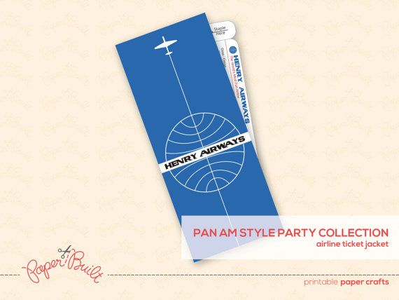 Printable Airplane Party Airline Ticket Jacket (Customized) from - printable ticket paper