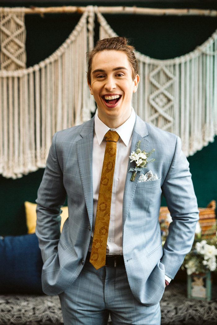 7b402ba9b The light blue + mustard groom's look features fun and retro patterns |  Image by Marcucci