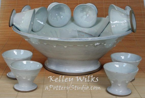Custom Party Punch Bowl 8 Cups 1 Ladle Your Color Choice In Stoneware On Etsy At Apotterystudio Com Punch Bowls Bowl Custom Party