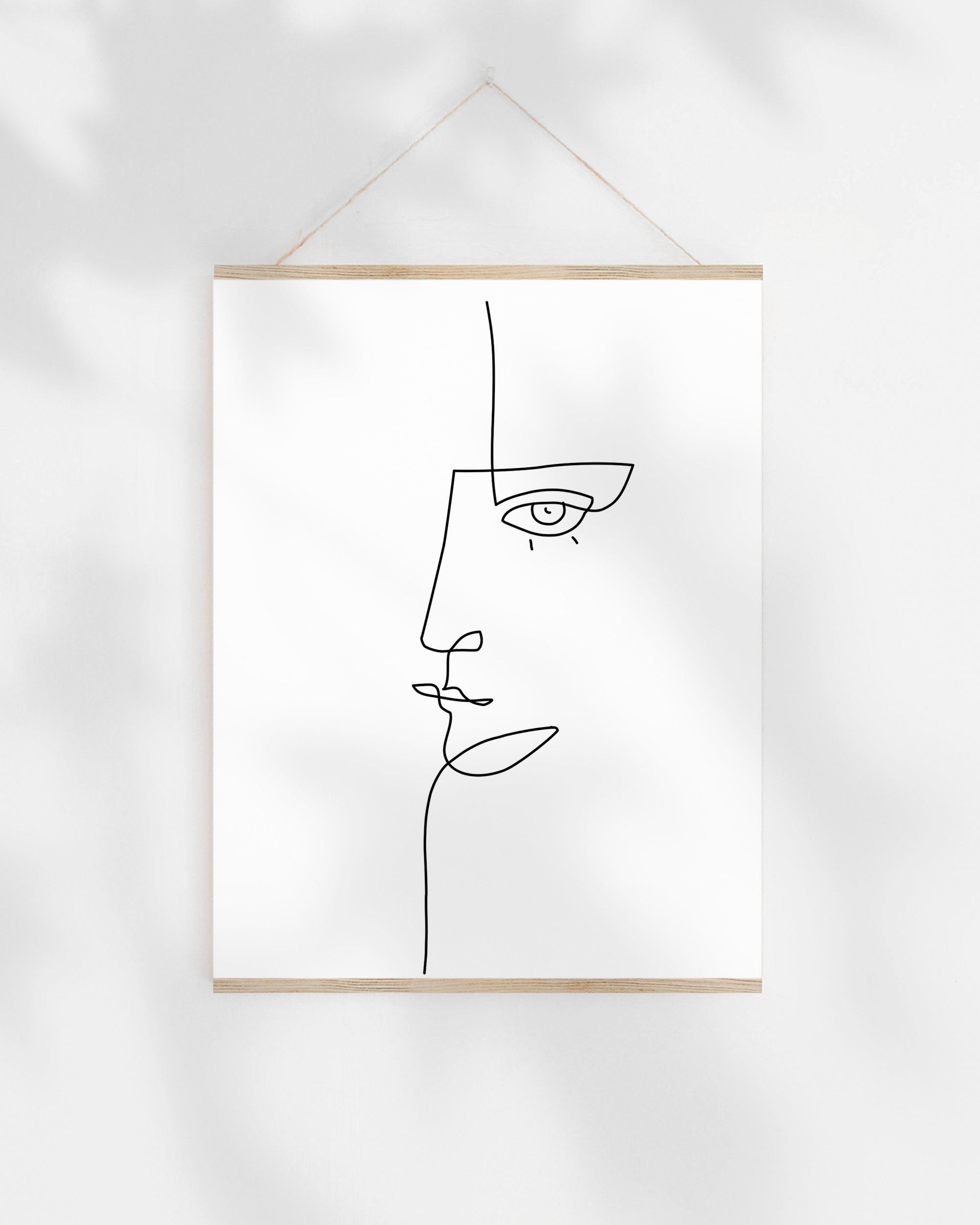 Digital Download Black White Face Illustration Continuous Line Drawing LANE Abstract Art Print Printable Art Poster