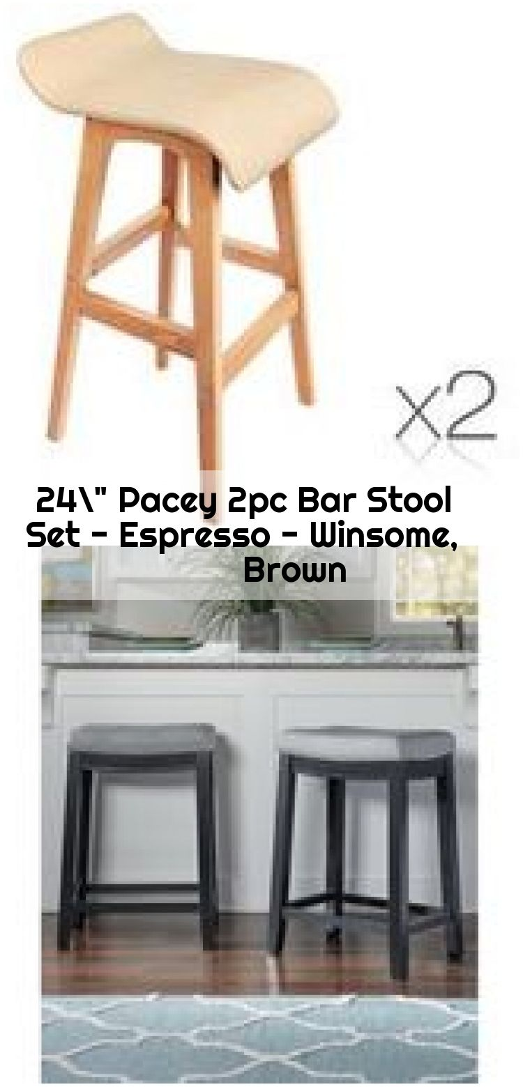 24 Pacey 2pc Bar Stool Set Espresso Winsome Brown 2pc