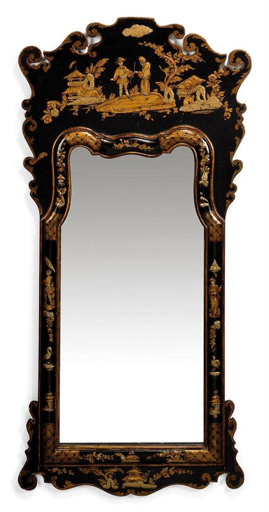 A JAPANNED MIRROR - OF QUEEN ANNE STYLE, SECOND HALF 20TH CENTURY ...