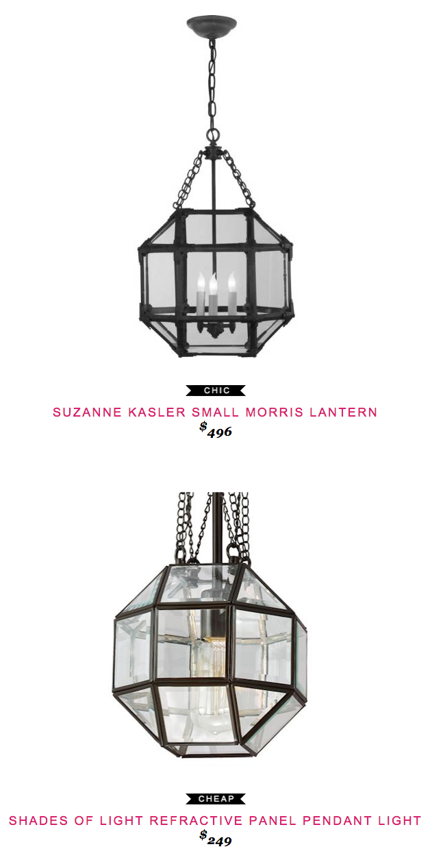 SUZANNE KASLER SMALL MORRIS LANTERN 496 Vs SHADES OF LIGHT REFRACTIVE PANEL PENDANT 249