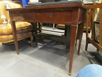 ancien bureau table en acajou epoque 19 eme style louis XVI pieds fuseaux